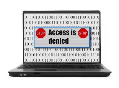 Access is denied notice on a notebook