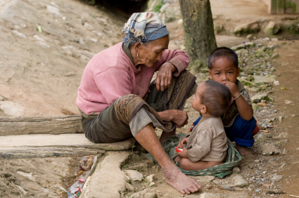 Asia, old woman with grandchildren