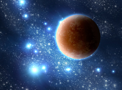 extrasolar planet on star background