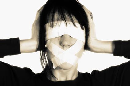 Media blind - censorship concept