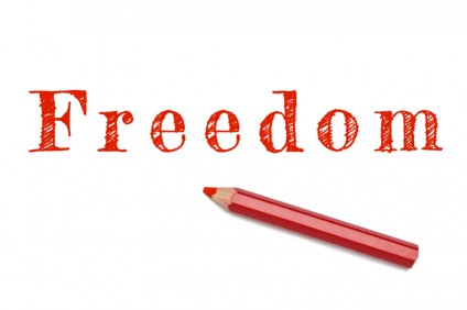Freedom written red pencil