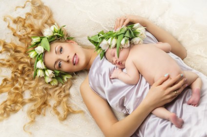 Mother and Daughter with flower decor on head