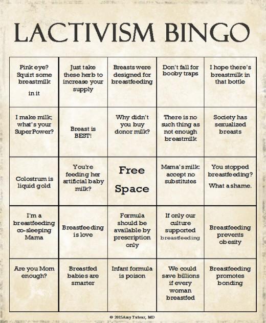 Lactivism bingo