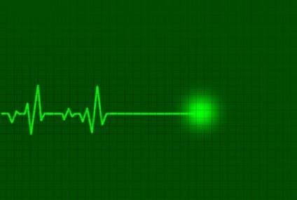 Cardiogram in green