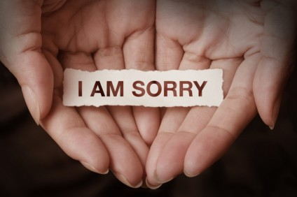 I am sorry text on hand