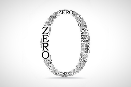 18957911 - zero sign created from text - illustration