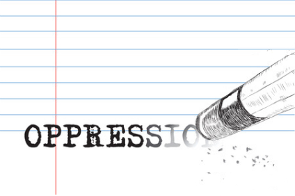 36247186 - creative on a theme of oppression, a pencil eraser and word oppression. vector illustration.