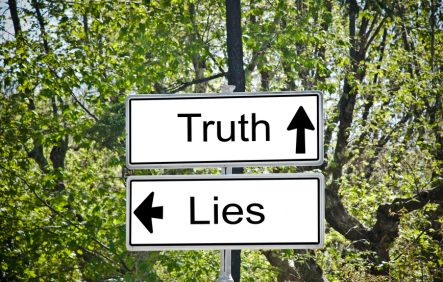 Truth and Lies Road Sign