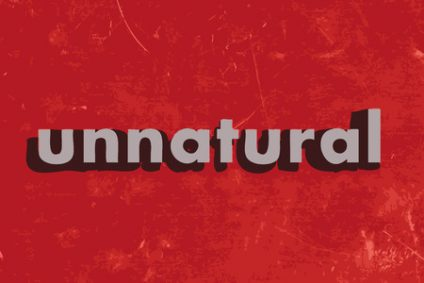 37452307 - unnatural vector word on red concrete wall