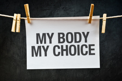 29043743 - my body my choice message printed on apper hanging on clothesline