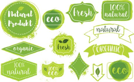 set of organic fresh eco labels