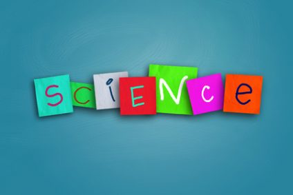 33133813 - the word science written on sticky colored paper