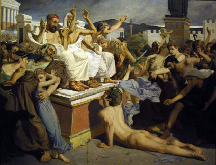 Pheidippides giving word of victory after the Battle of Marathon. Artist: Merson, Luc-Olivier (1846-1920)