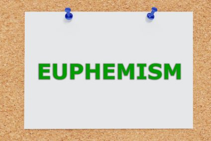 51595085 - render illustration of euphemism script on cork board