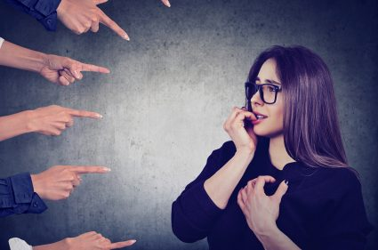 Anxious woman judged by different people