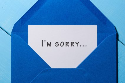 I'm SORRY - message in blue envelope
