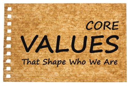 Core Values written on recycled paper