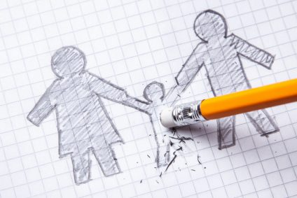Concept of the death of child, Loss. The family is painted on paper with  pencil and the child is erased