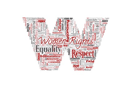 Vector conceptual women rights, equality, free-will letter font W red word cloud isolated background. Collage of feminism, empowerment, integrity, opportunities, awareness, courage, education, respect concept