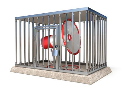 Megaphone inside metal cage 3D
