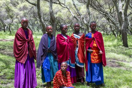Girls in ceremonial dress, Maasi Village, Ngorongoro Conservationa Area, Tanzania