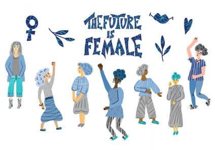 The future is female. Vector hand drawn quote.