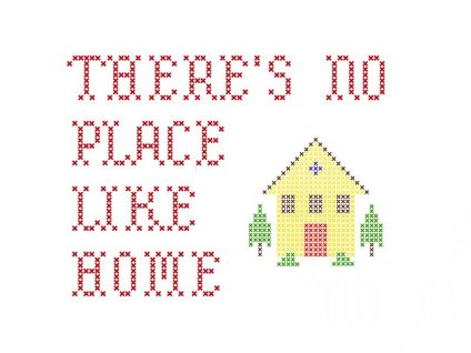 6436565 - there's no place like home embroidery on white