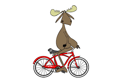 Illustration of a bull moose sitting on the handlebars of a red bicycle and pedaling himself backwards.